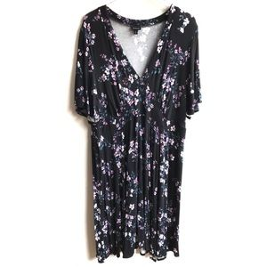 Torrid Black Floral Jersey Skater Midi Dress 3 3X